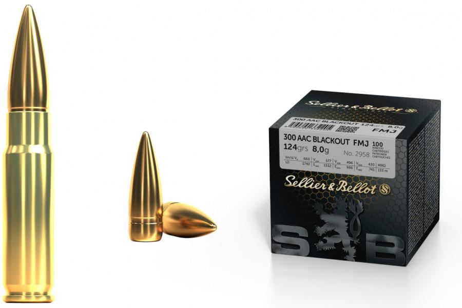 Büchsenpatronen Sellier & Bellot 300 AAC Blackout FMJ 8,0g/124gr