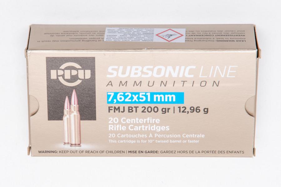 Büchsenpatronen PPU 308 Win. FMJ BT Subsonic