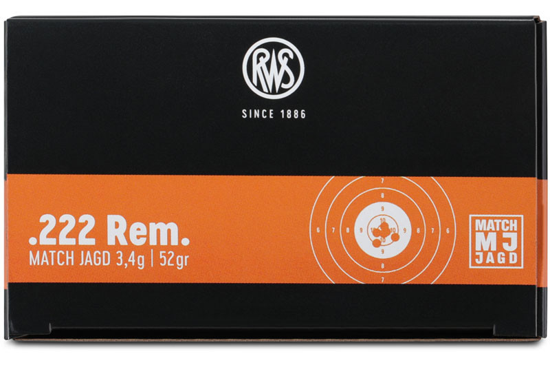 Büchsenpatronen RWS 222 Rem. MJ 3,4g/52gr